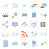 Comunication and web color flat icons set