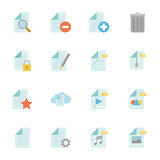 Files and documents color flat icons set