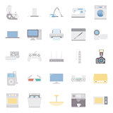 Home electrical appliances color flat icon set