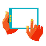 hand touch screen on digital tablet