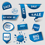Collection web blue pointers labels for shopping