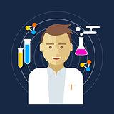 chemist scientist lab vector illustration