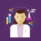chemist scientist lab vector illustration woman