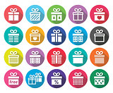 Present, gift box vector flat design icons set