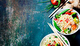 Chinese noodles with vegetables and shrimps
