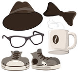Set hipster accessories - hat, glasses, tie, mug of coffee, shoes