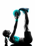 woman fitness Medicine Ball exercises silhouette
