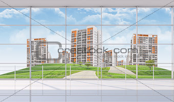 Cityscape under blue sky with road and trees