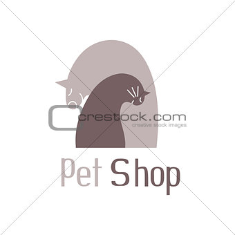 Cat and dog tender embrace,sign for pet shop logo