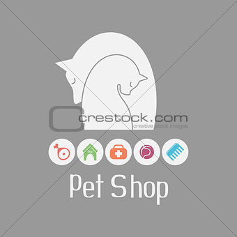 Cat and dog tender embrace, pet shop logo and what they needs
