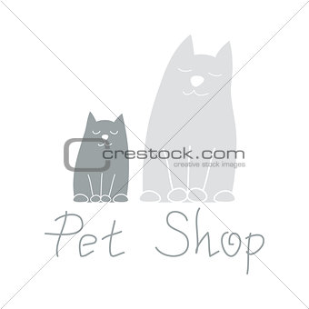 Cat mother and kitten best friends, sign for pet shop logo