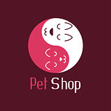 Cat and dog like Yin Yang, pet shop logo
