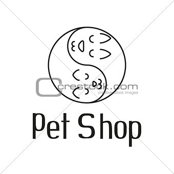 Cat and dog like Yin Yang, sign for pet shop logo