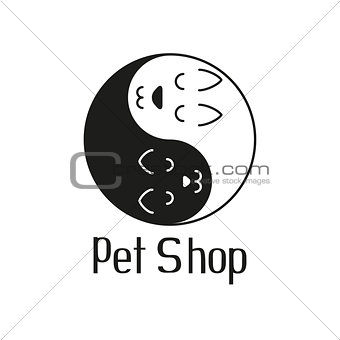 Cat and dog like Yin Yang, sign for pet shop