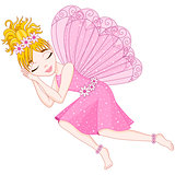 Cute fairy in pink dress is sleeping, eps 10