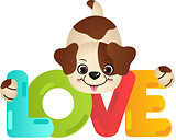 Funny dog on the word love