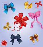Best set of colorful gift bows with ribbons.  illustration.