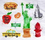 New York symbols crumled paper