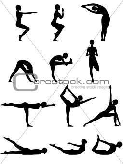 Abstract silhouettes of female yoga poses