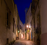 Narrow street at night