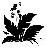 Plant and butterfly, silhouette