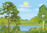 Landscape with Trees, Lake and Sun