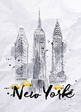 Watercolor New York buildings