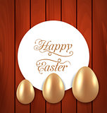 Celebration card with Easter golden eggs on wooden red backgroun