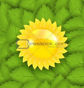 Abstract Sun on Green Leaves Seamless Texture, Eco Friendly Back