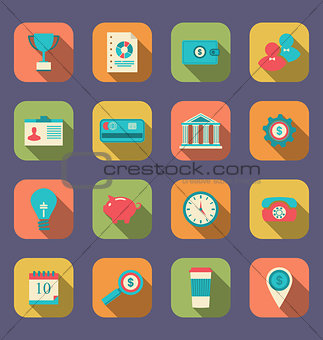 Flat icons of web design objects, business, office and marketing