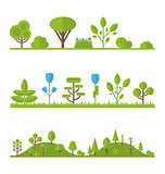 Collection set flat icons tree, pine, oak, spruce, fir, garden b