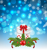 Christmas gift box with holiday decoration
