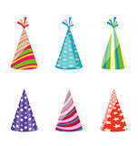 Set of party colorful hats isolated on white background