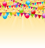 Holiday background with colorful balloons, hanging flags and con