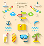 Flat colorful set icons of travel on holiday journey, tourism ob