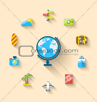 Flat set icons of globe and journey vacation, simple style with