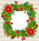 Christmas frame with traditional elements on wooden background