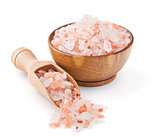 Himalayan pink salt in a wooden bowl