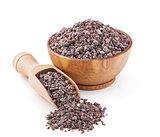 Indian Black salt in a wooden bowl