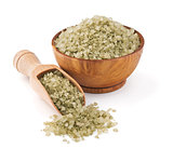 Hawaiian green salt in a wooden bowl