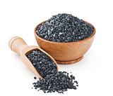 Hawaiian black volcanic salt in a wooden bowl
