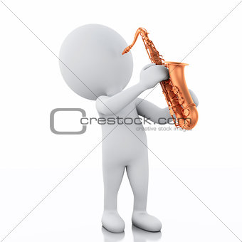 3d white people playing saxophone on a white background