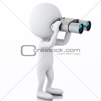 3d white people looking through binoculars