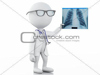 3d white people doctor with radiography