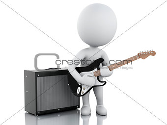3d white people playing electric guitar