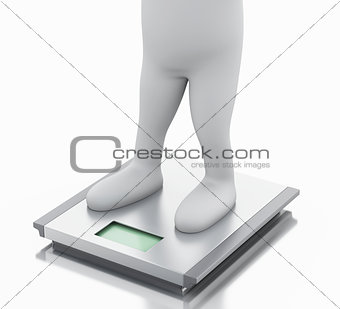 3d white people with ideal weight and scale.
