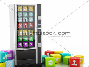 3d vending machine with application Icons.
