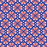Seamless Blue and Coral Floral Pattern