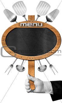 Food Menu - Blackboard with Hand of Waiter