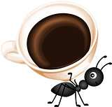Ant carrying a cup coffee